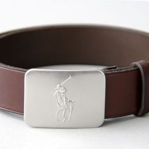 Brown Polo Belt with Silver Belt Buckle